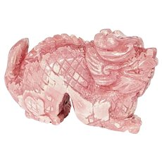 Hand Carved Rose Pink Rhodochrosite Dragon