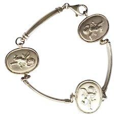 Italian Sterling Cupid Medallion Bar Link Stampato Bracelet