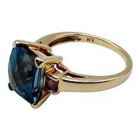 Vintage London Blue Topaz Pink Sapphire 14K Ring