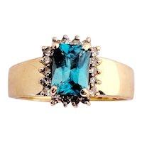 Blue Zircon and Diamond Engagement Dress Ring 10K