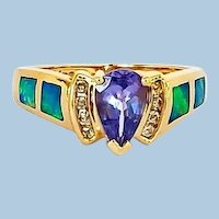 Estate Tanzanite Diamond and Inlaid Opal 14K Ring