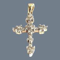 Sparkling Diamond Cross Pendant Necklace 10K