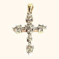 Sparkling Diamond Cross Pendant 10K