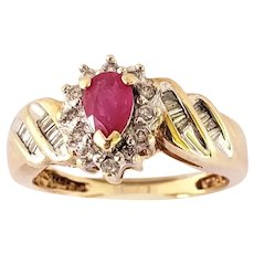 Vintage Ruby and Diamond Cocktail Ring 10K