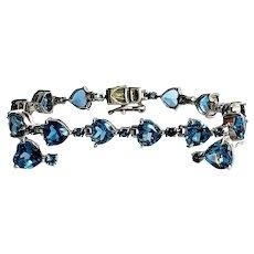 Vintage Sterling Heart Cut London Blue Topaz Bracelet and Earrings
