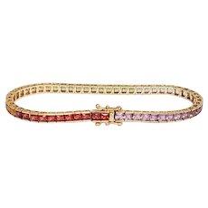 Rainbow Gemstone 10K Tennis Bracelet
