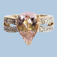 Estate Peach Pink Morganite and Diamond Engagement Dress Ring