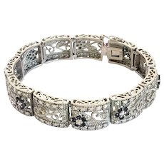 Filagree Milgrain Italian Sterling Iolite and Diamond Vintage Floral Design Bracelet