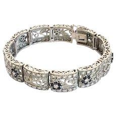 Vintage Sterling Iolite and Diamond Floral Design Bracelet