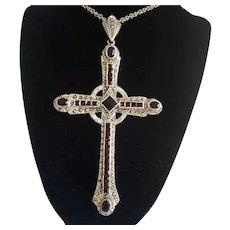 Large Garnet and Marcasite Cross Pendant