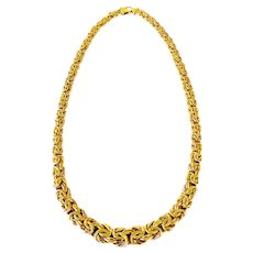 Bold Italian Graduated Byzantine Link 14K Necklace