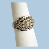 Fancy Canary Yellow and White Diamond Vintage 10K Ring