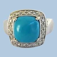 Sleeping Beauty Turquoise and Diamond 14K Ring