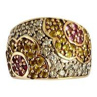 Sapphire and Diamond Mod Flower Ring 10K