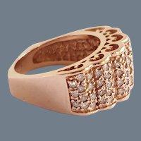 Rose 14K Vintage Pierced Lace Design Diamond European Shank Ring