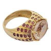 Vintage 9cts Pink Kunzite Pink Sapphire 14K Ring