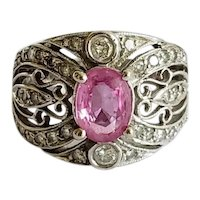14K Natural Pink Sapphire Diamond Engagement Dress Ring