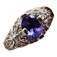 Estate Tanzanite and Diamond Filagree 14K Ring