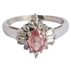 Sweet Peach Pink Sapphire and Diamond Vintage 10K Engagement Dress Ring