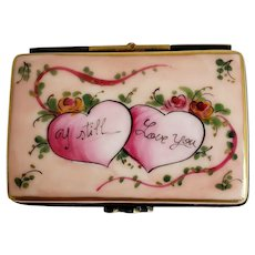 Hearts and Roses I Still Love You Vintage Limoges Trinket Box