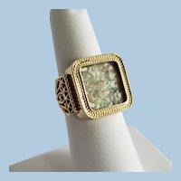 14K Baltinester Israel Ancient Roman Glass Ring