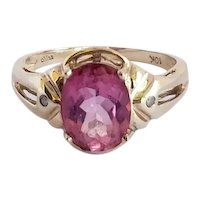 1940's Hot Pink Tourmaline Diamond 10K Ring