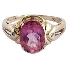 Vintage Pink Topaz Diamond Accent Solitaire 10K Ring