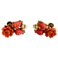 Vintage 1950's Faux Coral Flower and Screw Back Earrings