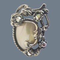 Vintage Mother of Pearl Marcasite Pin