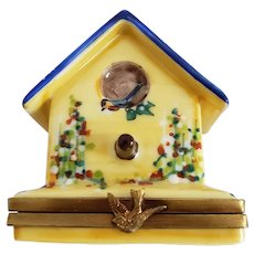 Vintage Limoges Bird House Trinket Box