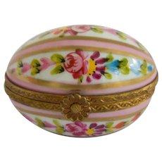 Rochard Limoges Vintage Oval Pink Floral Trinket Box