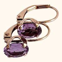 Pretty Oval Amethyst Drop 10K Earrings
