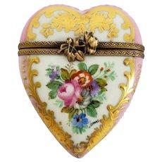 Vintage Pink Heart with Roses Limoges Trinket Box