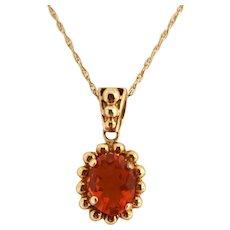 Intense Red Orange Fire Opal 14K Pendant