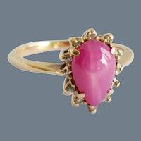 Pretty Pink Star Sapphire Diamond Engagement Dress Ring 10K