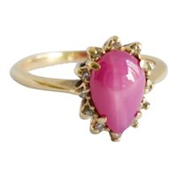 Vintage Pink Star Sapphire Diamond Engagement Dress Ring 10K
