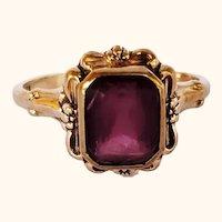 Art Nouveau Amethyst Paste 10K Ring