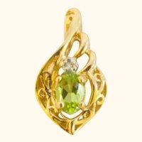 Vintage Peridot and Diamond 14K Pendant Necklace