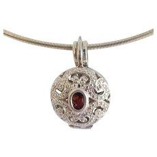 Estate Reversible Amethyst Garnet Sterling Pendant Necklace