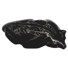 Garric Acque Zuni Crafty Badger Marble Fetish Carving