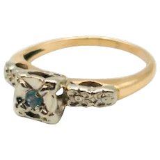 1930's Orange Blossom Alexandrite 14K Engagement Ring
