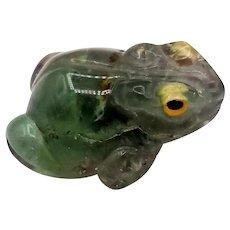 Carved Fluorite Crystal Frog