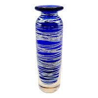 Correia Blue Silver Threaded Art Glass Bud Vase