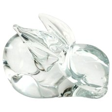 Cute Vintage Glass Bunny Paperweight