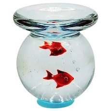 Vintage Art Glass Goldfish Bowl Paperweight