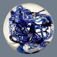 Karg Blue Vortex Art Glass Paperweight