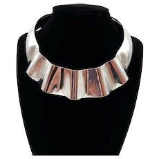 Stunning Sterling Fluted Modernist Collar Necklace