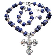 Faceted Blue Sodalite Bead Cross Jewelry Set
