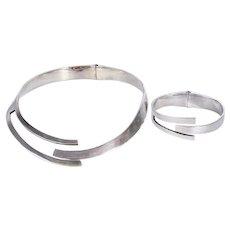 Sterling Matching Modern Hinged Necklace and Bracelet Set