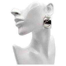 Navajo Old Pawn Sterling Large Hoop Earrings